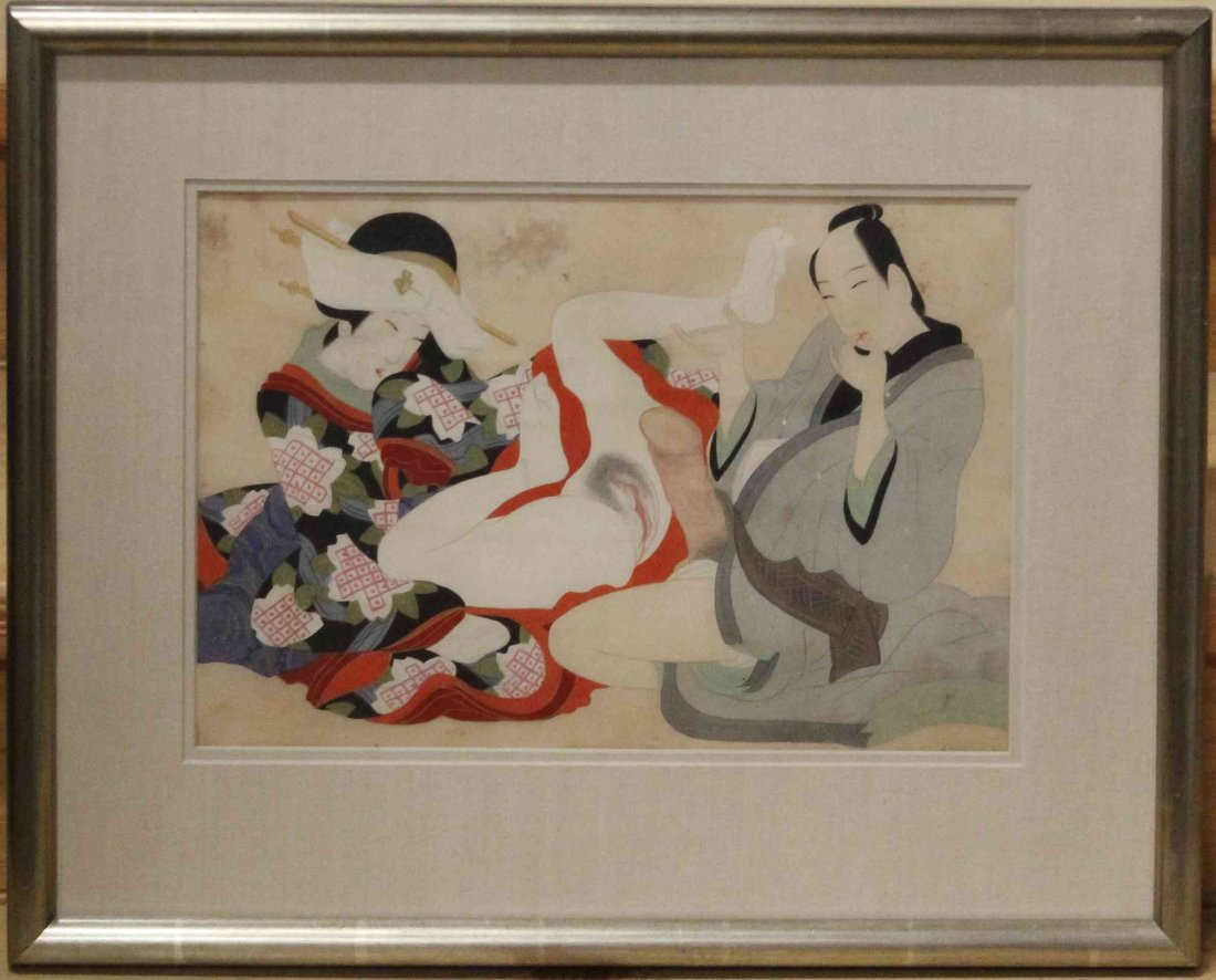 A Japanese Erotic Woodblock Print. Height 14 x width 9