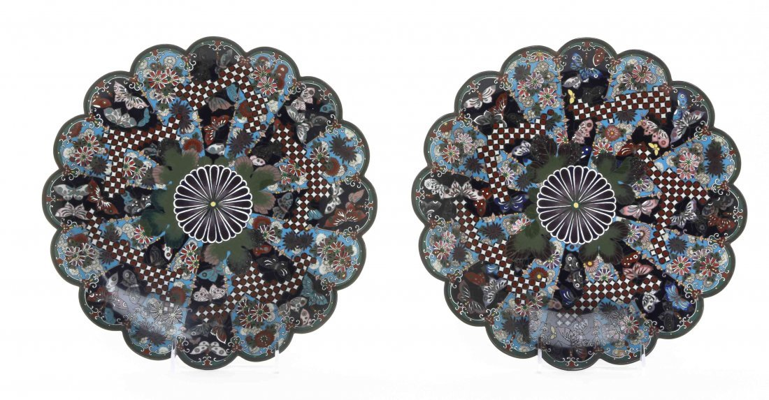A Pair of Japanese Cloisonne Enamel Chargers, Diameter