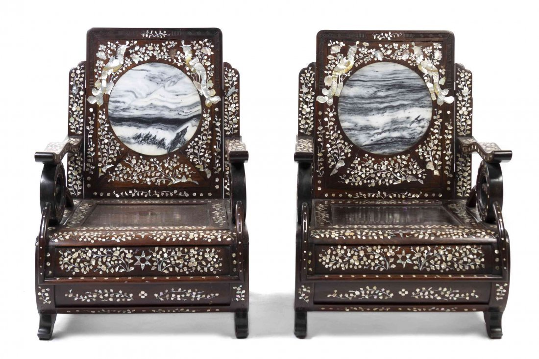 A Pair of Chinese Wood and Mother-of-Pearl Armchairs,