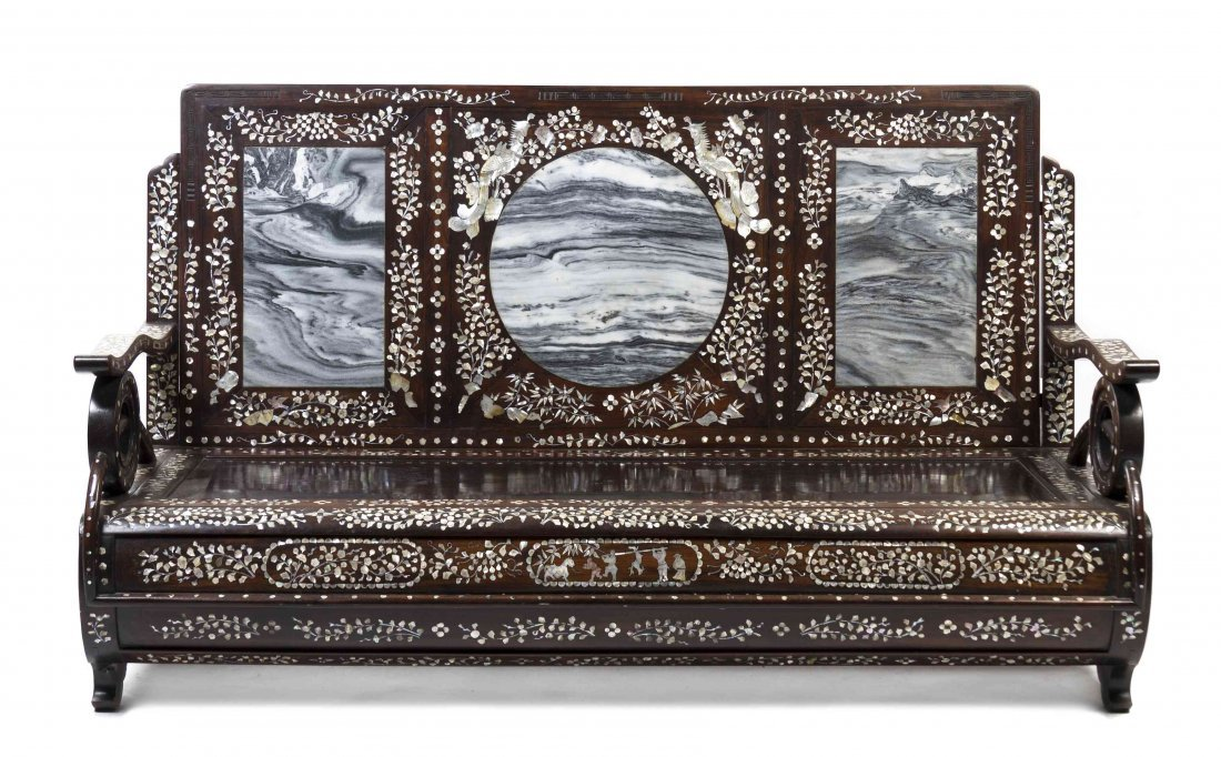 A Chinese Wood and Mother-of-Pearl Inlay Settee, Height