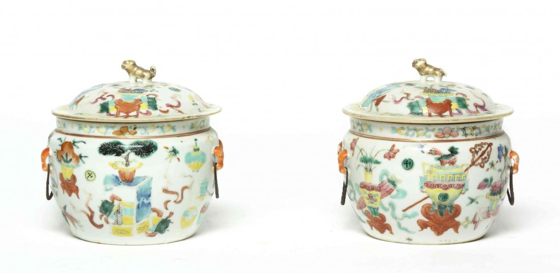 A Pair of Chinese Porcelain Jars, Height 5 1/2 inches.