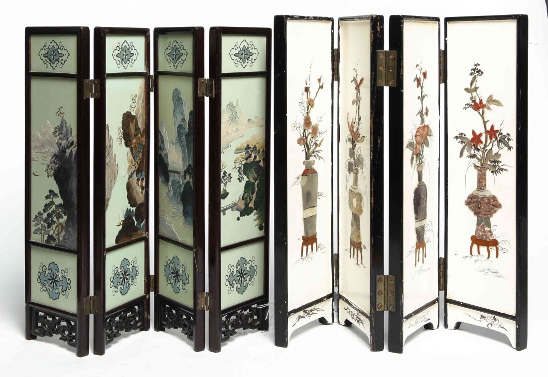 Two Chinese Export Four-Panel Table Screens, Height of