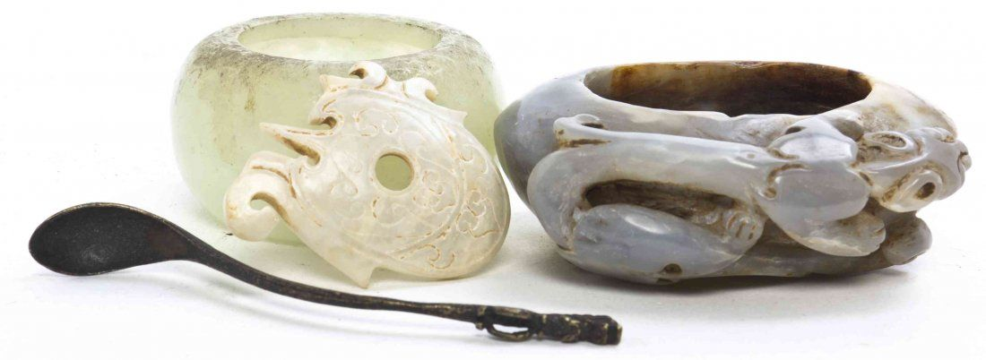 Three Chinese Jade Articles, Width of widest 3 inches.