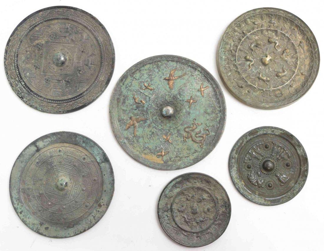 Six Chinese Silvered Bronze Mirrors, Diameter of