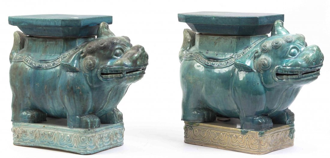 A Pair of Glazed Pottery Figures of Bixie, Width at