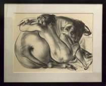 Hans Erni, (Swiss, b. 1909), Nude and Bull