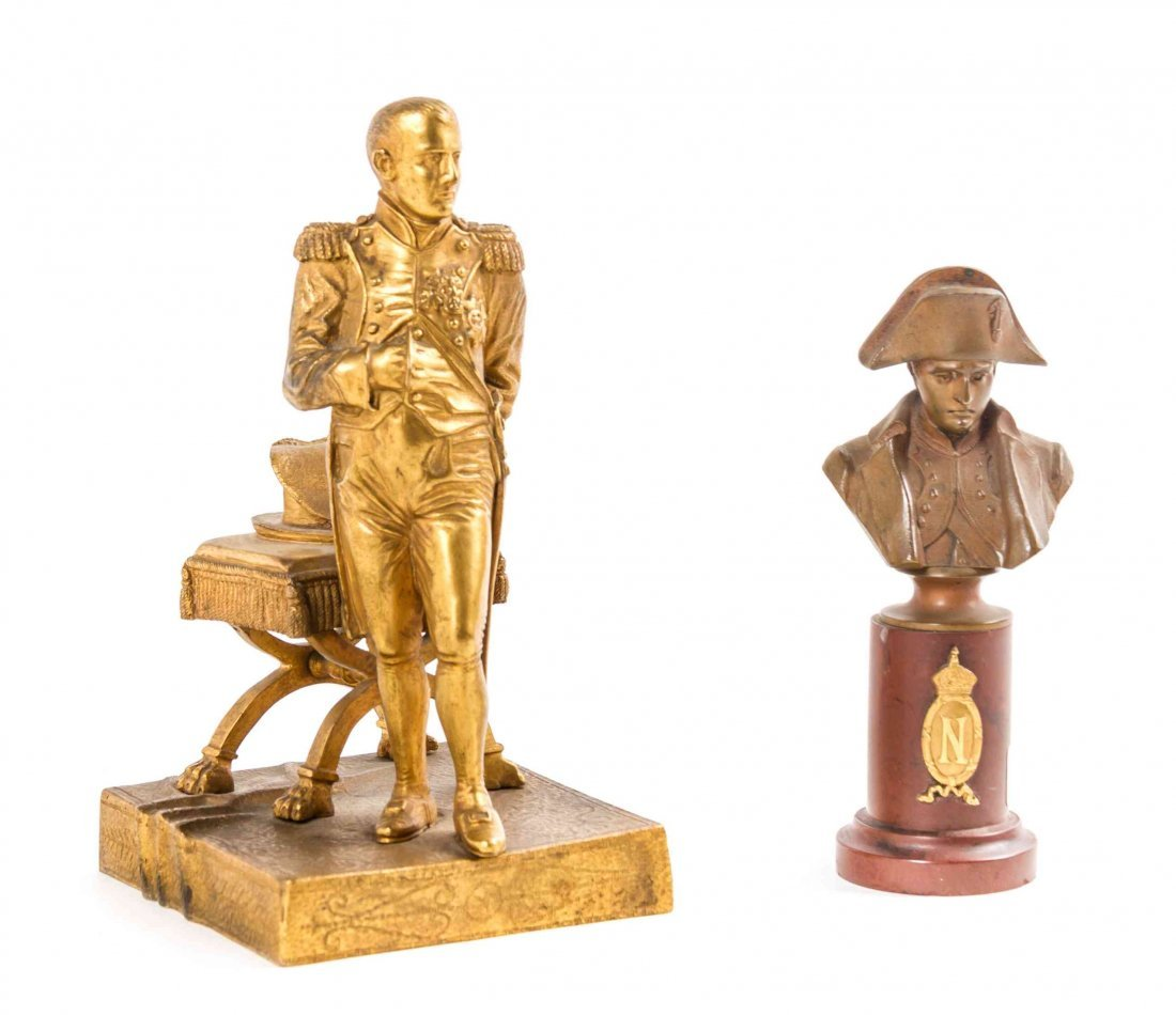 Two French Napoleonic Bronze Figures, Height of first 6