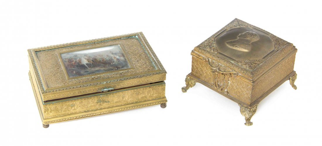 A French Gilt Metal Musical Table Casket, Width 6 1/2