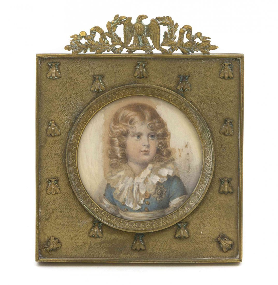 A French Portrait Miniature, Diameter 3 7/8 inches.