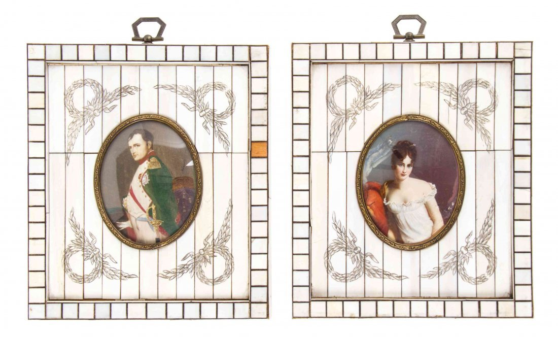 Two Continental Portrait Miniatures, Height 7 1/4 x