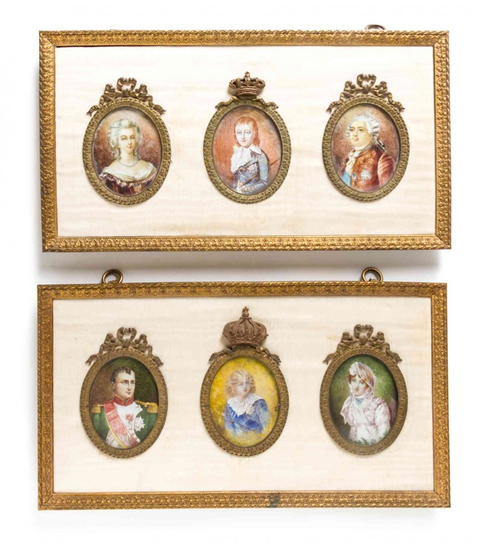 Six Portrait Miniatures, Width of frames 15 3/8 inches.