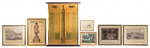 Seven Framed Napoleon Articles Height of first 37 18