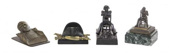 A Collection of Napoleonic Bronze and Cast Metal Desk