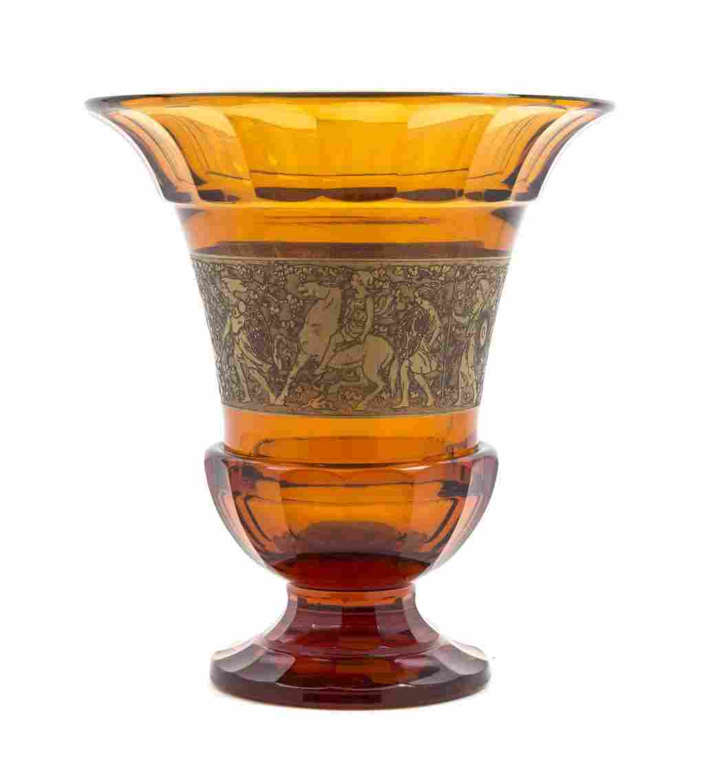A Moser Carlsbad Amber Glass Vase, Height 12 inches.