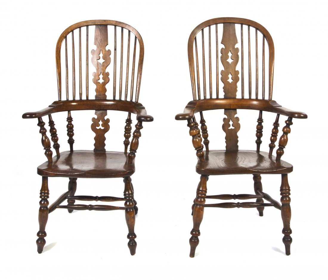 A Pair of Oak Windsor Chairs, Height 44 1/4 inches.