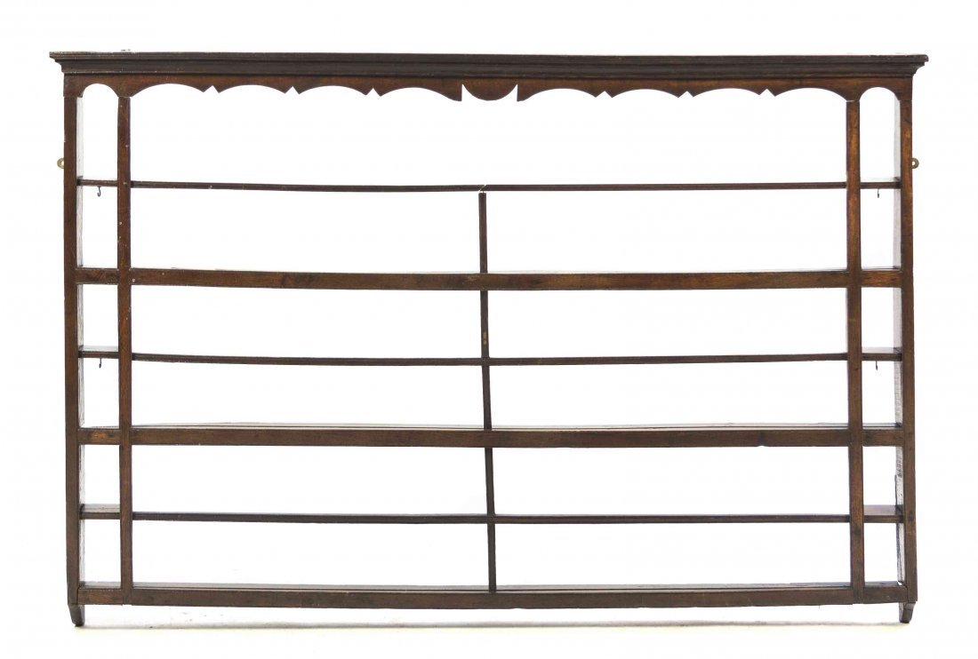 A English Oak Hanging Plate Rack, Height 43 x width 63