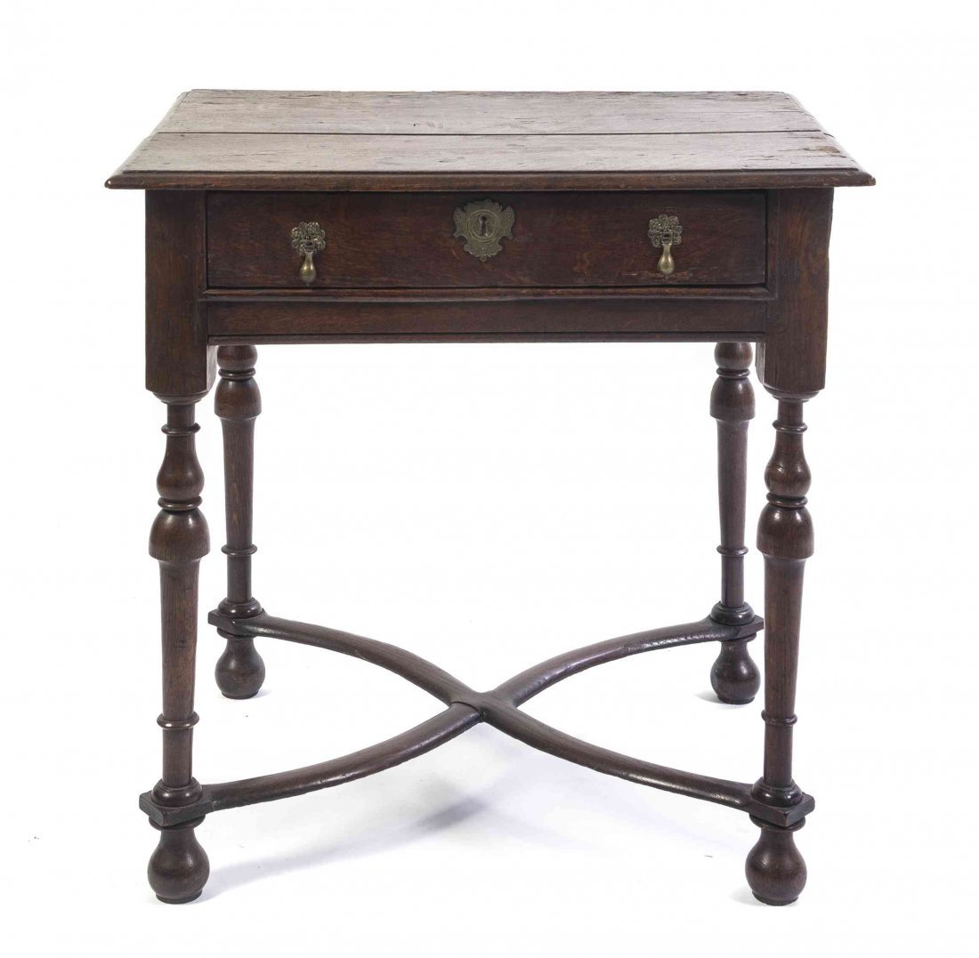 A William and Mary Style Oak Side Table, Height 28 1/2