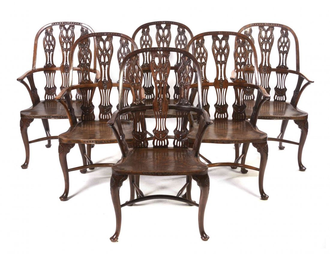 Six English Oak Windsor Armchairs, Height 42 inches.