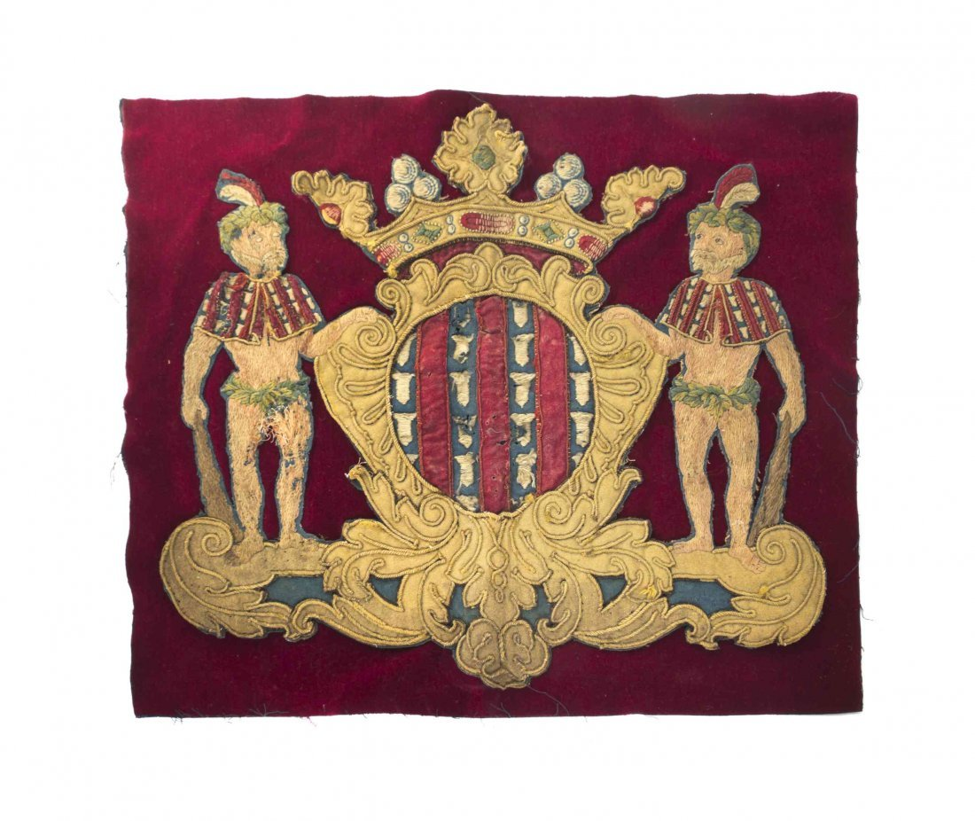 An English Needlework Coat of Arms, Width 24 5/8