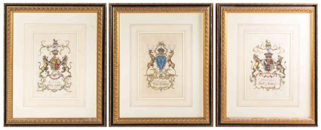 A Set of Six English Handcolored Engravings, Height of
