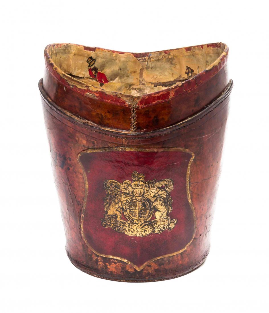An English Leather Bucket, Height 14 1/2 inches.