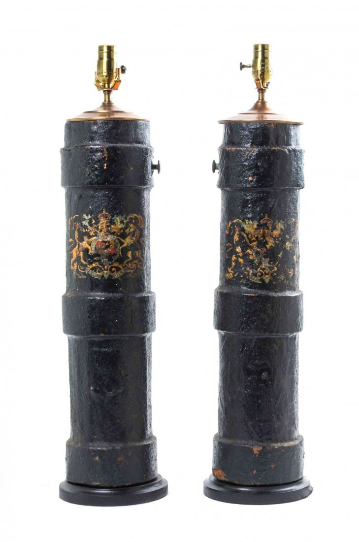 A Pair of English Leather Fire Buckets, Height 24