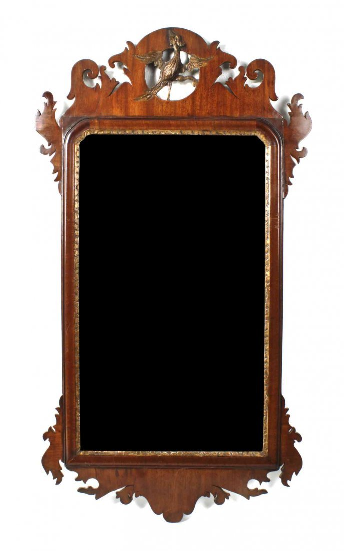 A George II Parcel Gilt Mahogany Mirror, Height 37 1/2