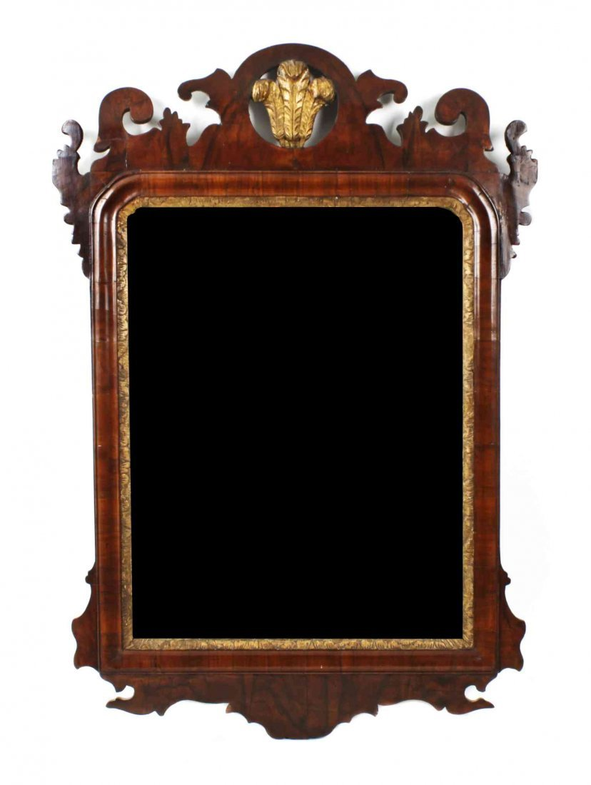 A George II Parcel Gilt Mahogany Mirror, Height 30 x