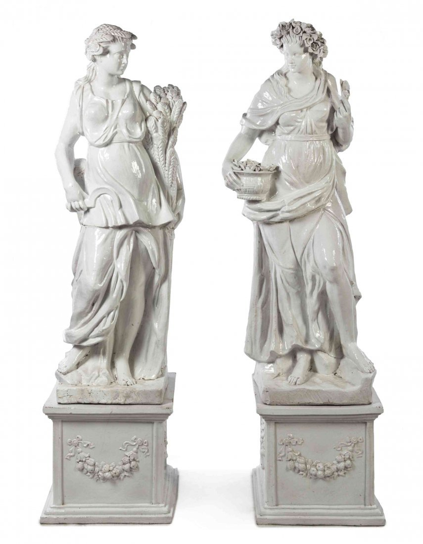 Two Neoclassical Tin-Glazed Terra Cotta Figures, Height