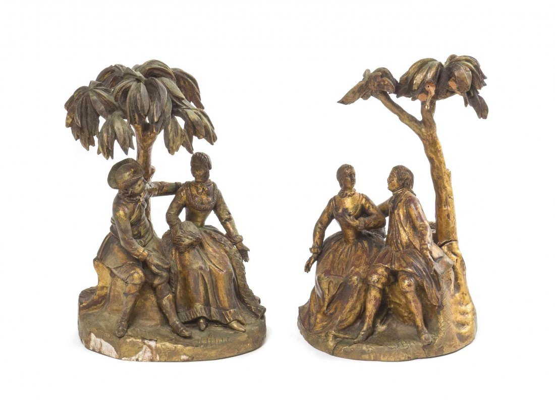 A Pair of Continental Giltwood Figural Groups, Height 9