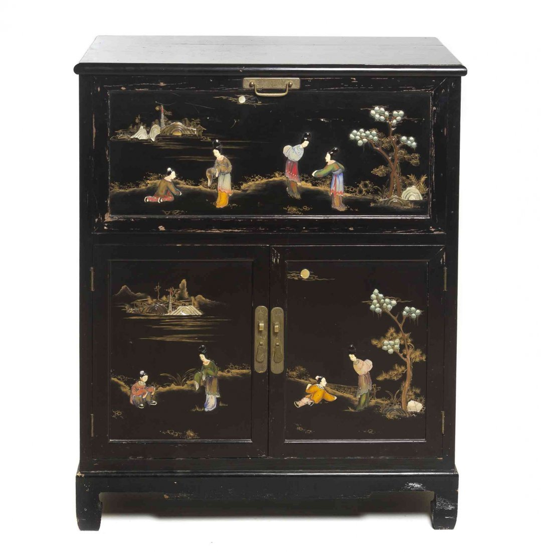 A Chinese Export Lacquered and Painted Bar Cabinet,