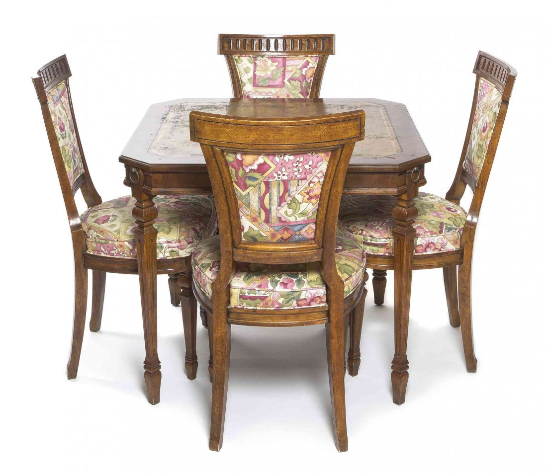 A Louis XVI Style Walnut Card Table and Four Chairs,