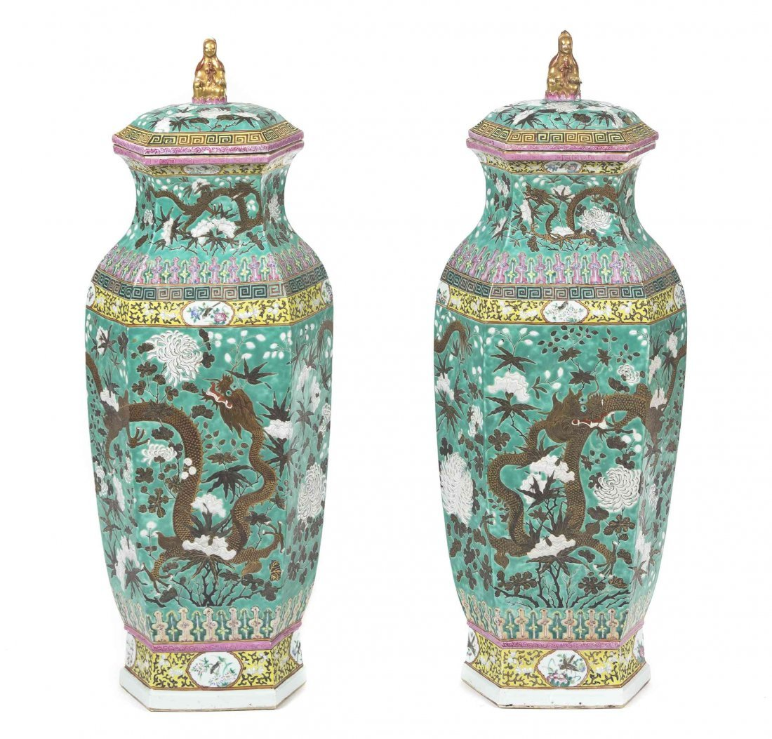 A Pair of Chinese Export Porcelain Covered Urns, Height