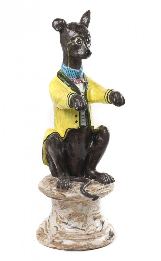 A Majolica Figure of a Seated Whippet, Height 27 1/8