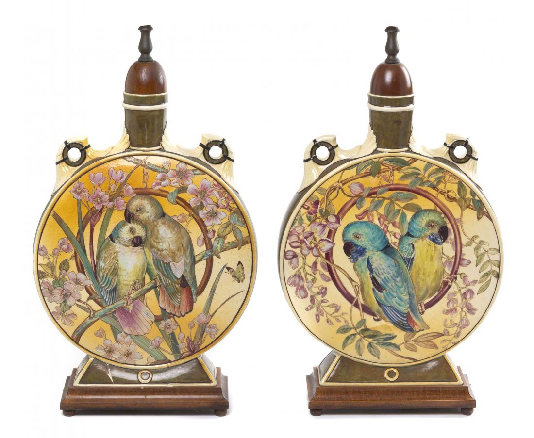 A Pair of Aesthetic Movement Majolica Vases, Height 20