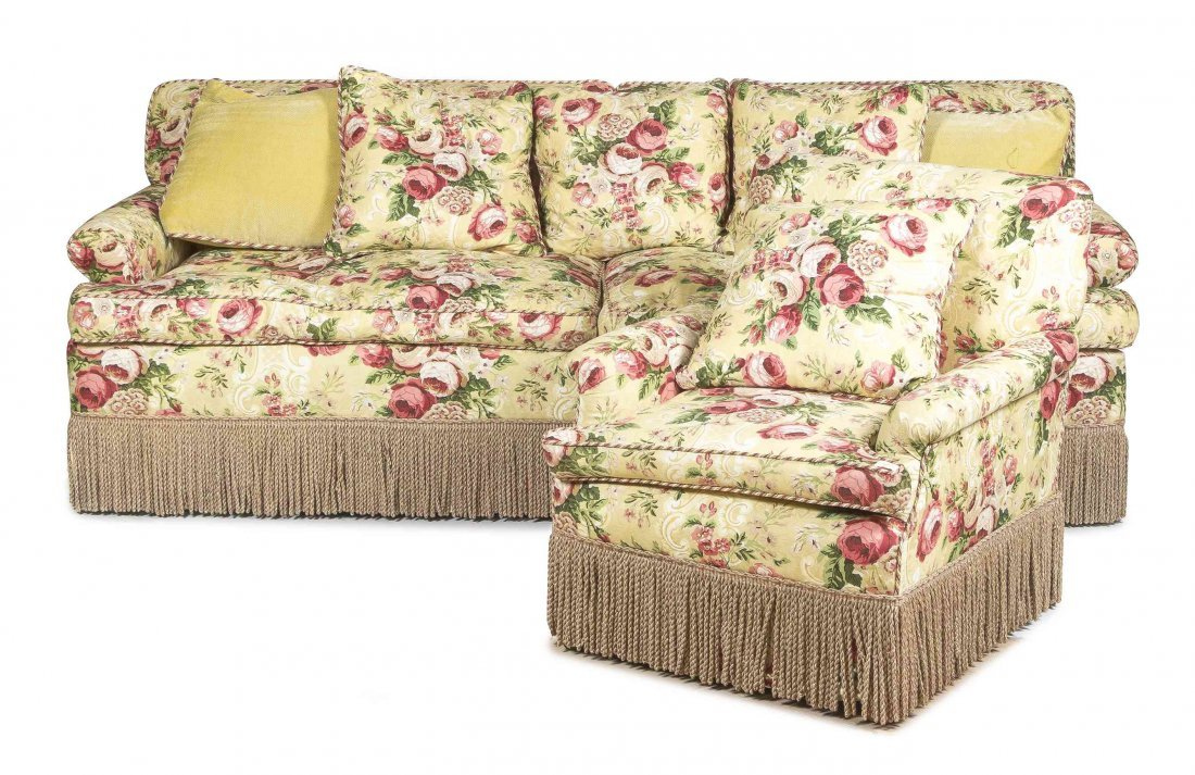 A Suite of Upholstered Furniture, Height of sofa 34 1/2