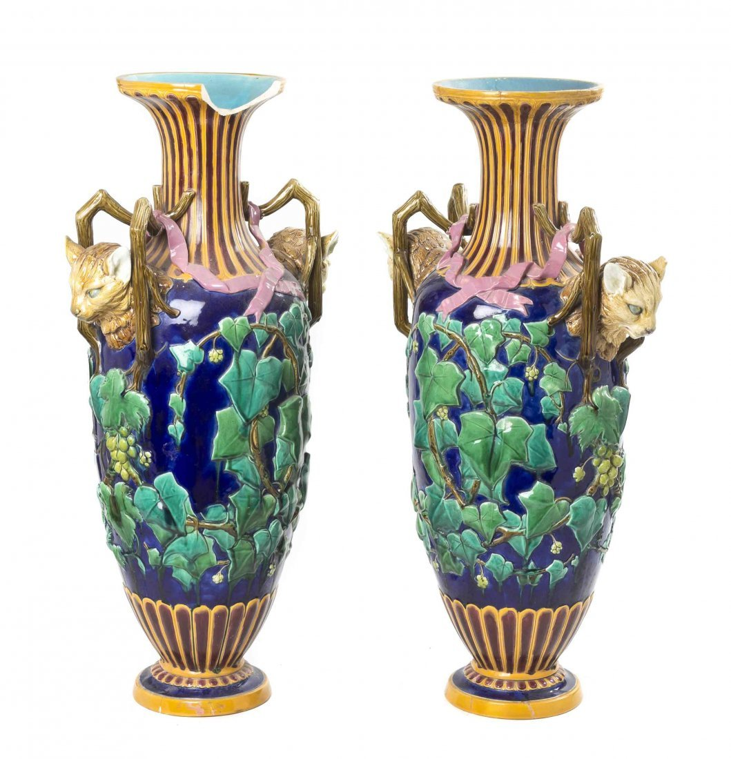 A Pair of Majolica Vases, Height 27 1/2 inches.