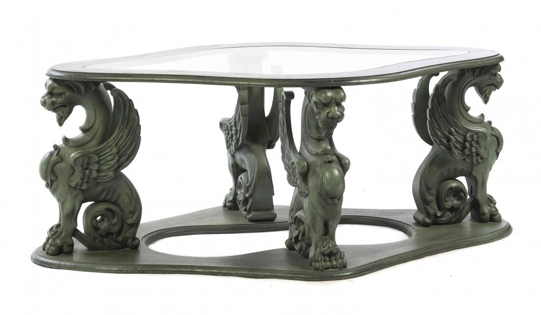 A Neoclassical Style Glass Inset Low Table, Height 19