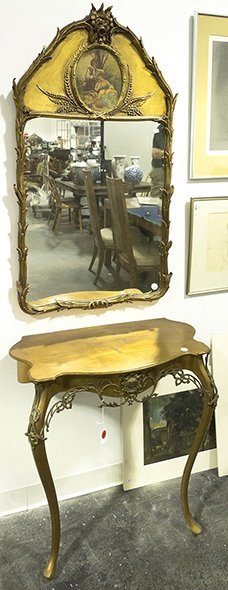 A Louis XVI Style Associate Console Table and Gilt