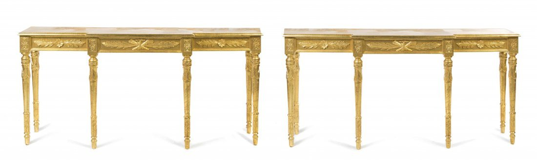 A Pair of Louis XV Style Console Tables, Height 33 1/4