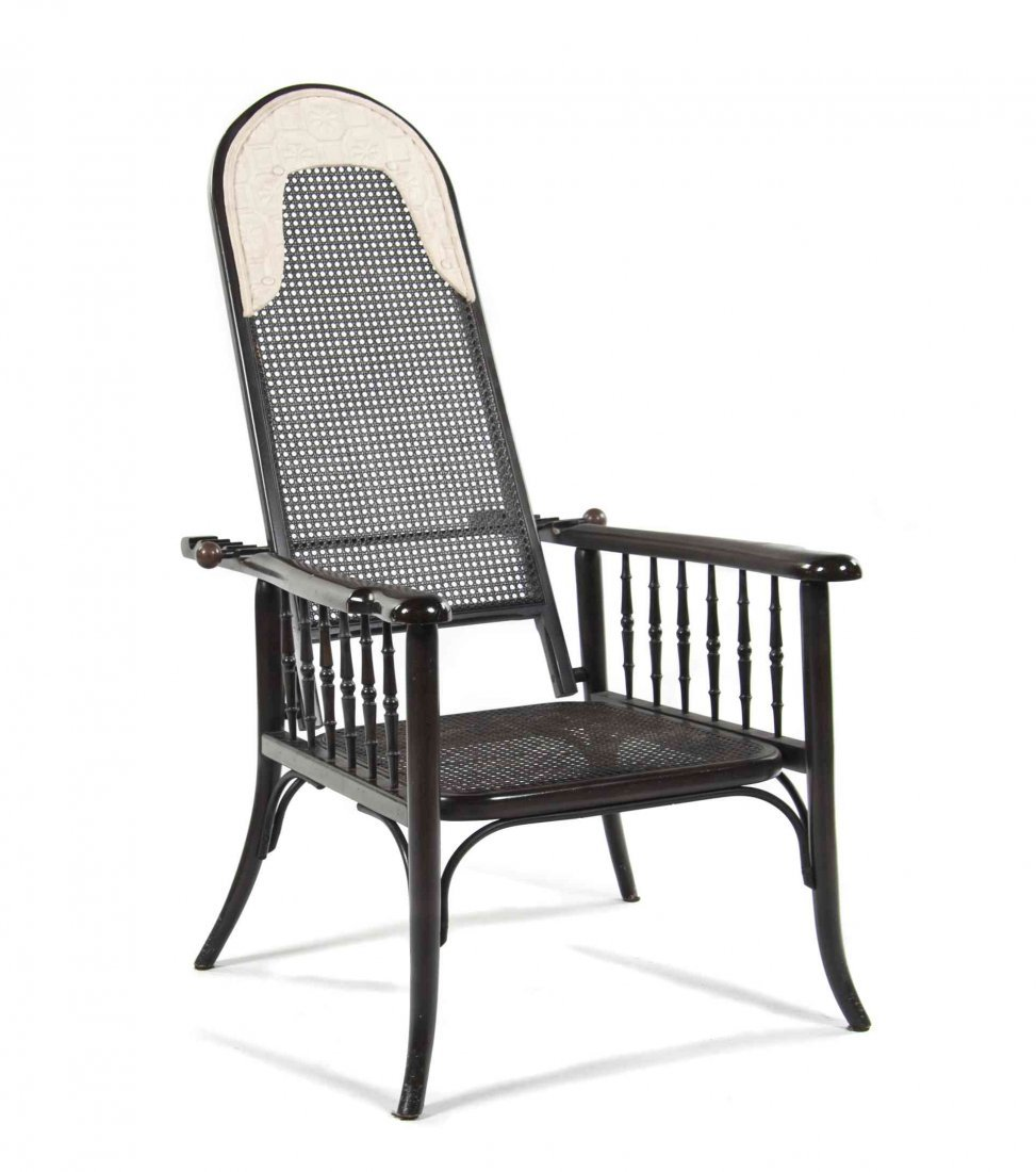 A Caned Bentwood Morris Style Open Armchair, Height 49