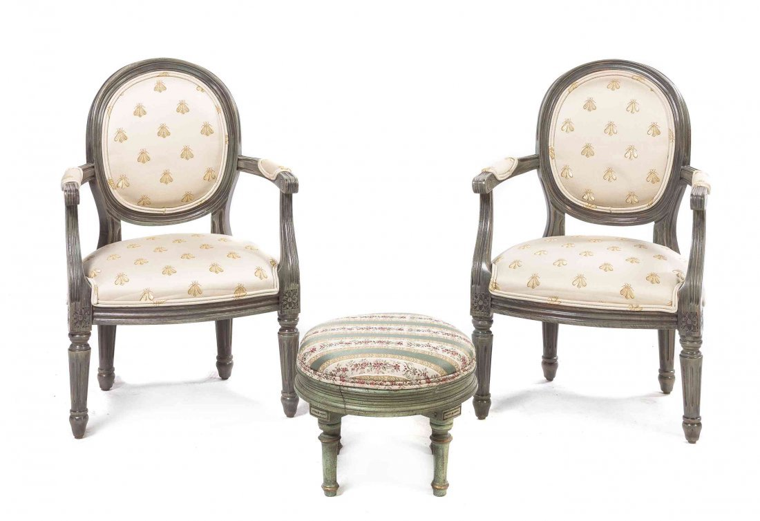 A Pair of Louis XVI Style Child's Fauteuil, Height of