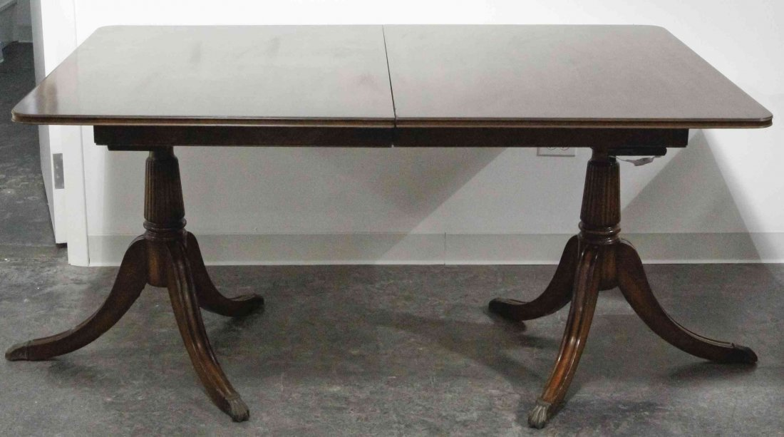 A Federal Style Mahogany Double Pedestal Dining Table,
