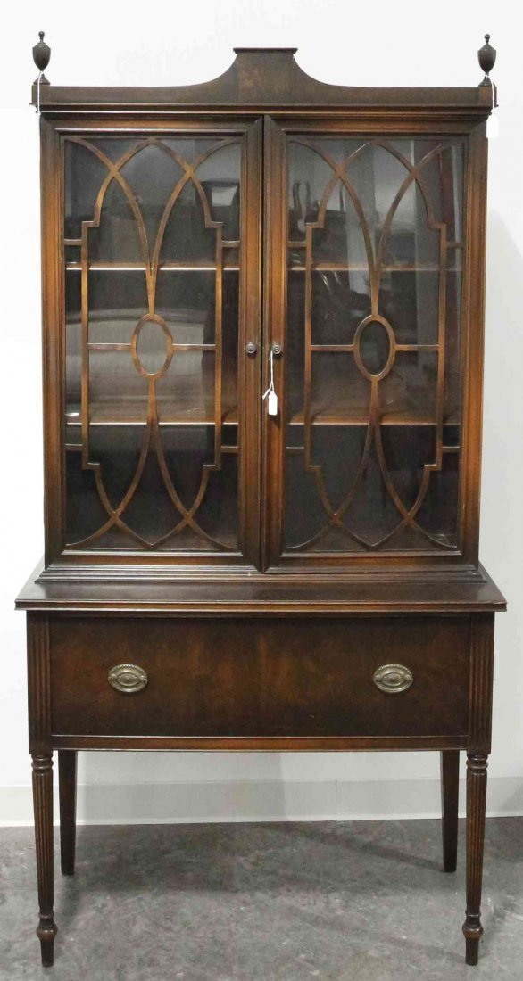 An American Mahogany Step Back Cabinet, Height 69 1/2 x