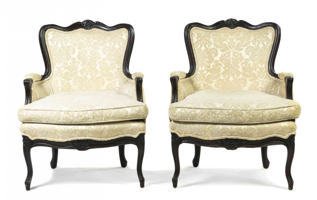 A Pair of Louis XV Style Bergeres, Height 34 1/4