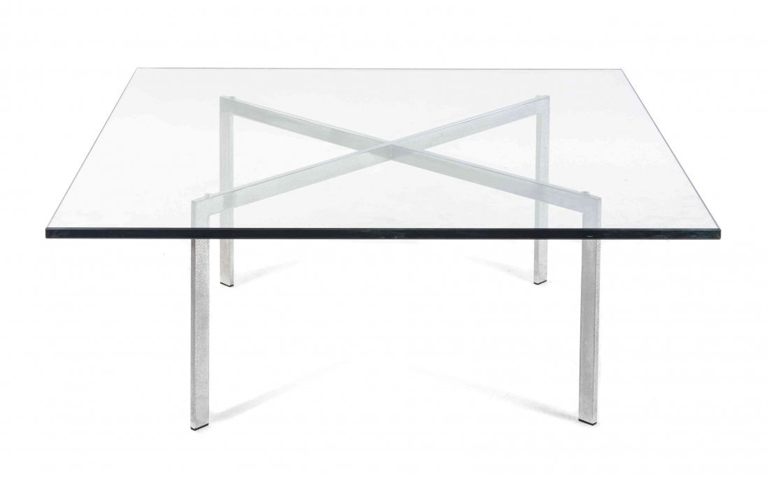 A Mies Van der Rohe Steel Barcelona Low Table, Height