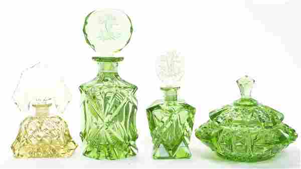A Set of Four Cut Glass Articles, Height of tallest 7