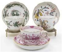 Three Meissen Porcelain Teacup and Saucer Sets