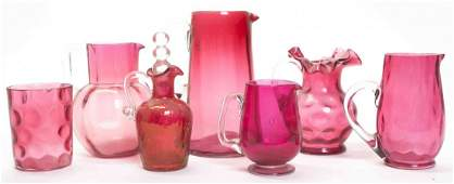 A Group of Victorian Cranberry Glass Articles Height