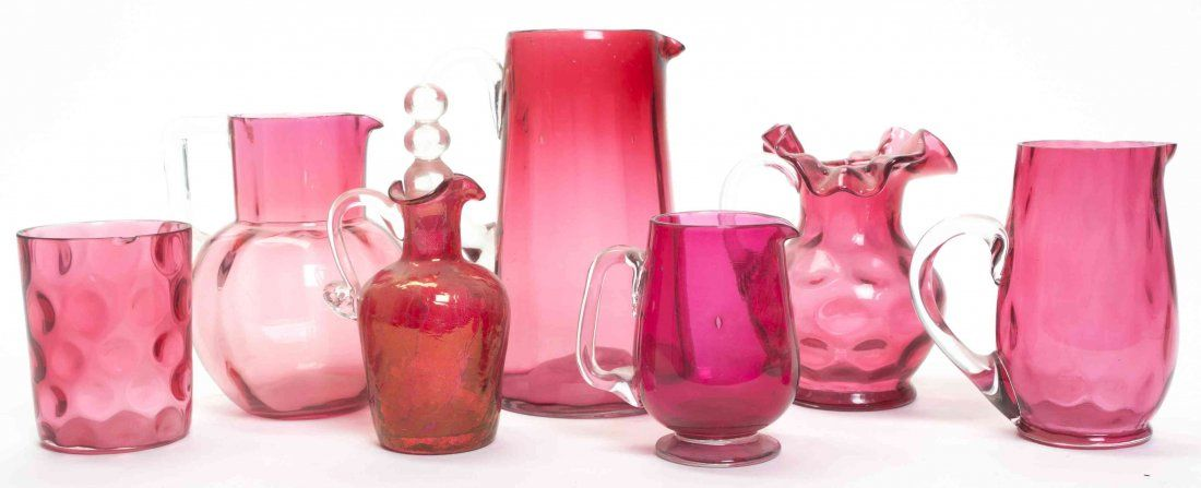 A Group of Victorian Cranberry Glass Articles, Height